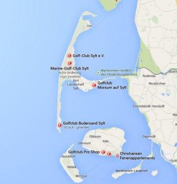 Karte Golfclubs Sylt