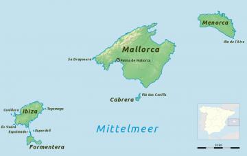 Karte der Balearen, Spanien