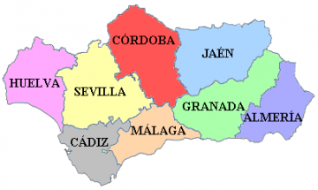 Map Provinzen Andalusiens