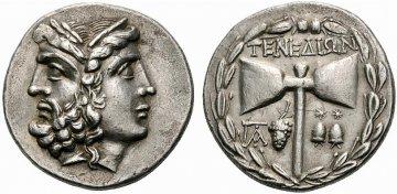 Münze mit Doppeölaxt, Zeus und Hera