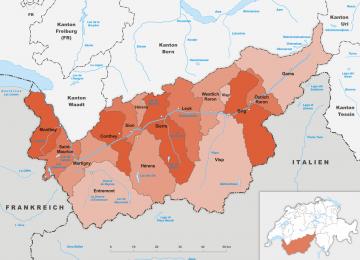 Schweiz - Wallis -Karte