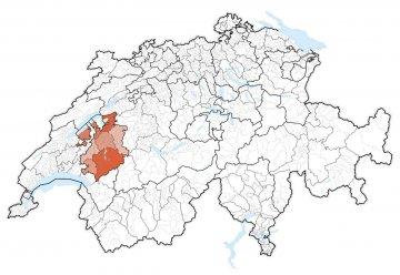 Schweiz - Freiburg - Karte